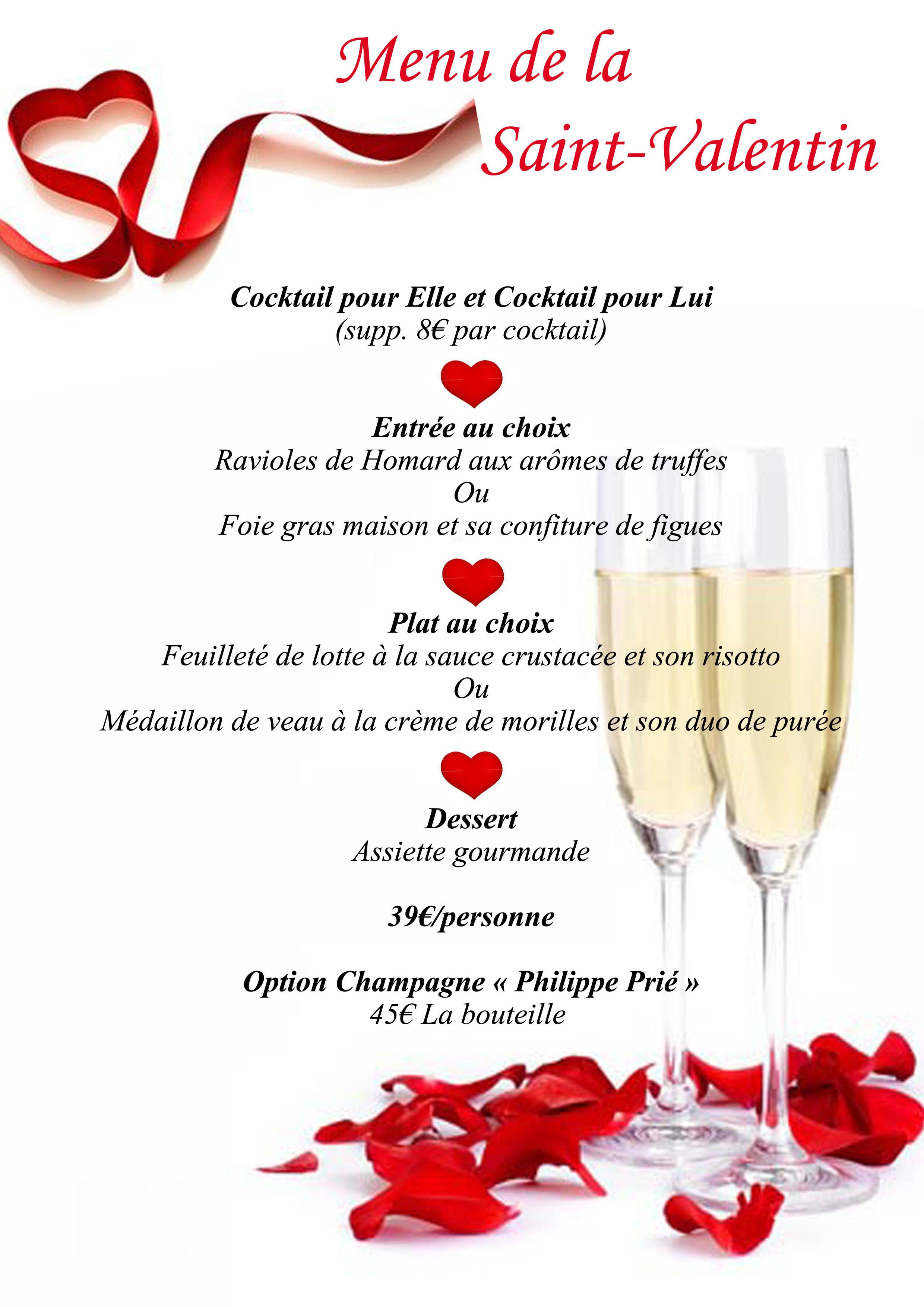 Menu de la Saint-Valentin au Mecano